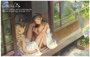 Rating: Safe Score: 66 Tags: 2girls alphonse barefoot black_hair blonde_hair dress fan headband loli long_hair original popsicle reflection shade signed summer summer_dress User: RyuZU