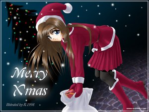 Rating: Safe Score: 6 Tags: blue_eyes brown_hair christmas hat pantyhose r santa_costume santa_hat User: Oyashiro-sama