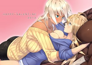 Rating: Questionable Score: 302 Tags: 2girls blonde_hair blue_eyes blush breasts cleavage food gray_hair original pocky real_xxiii valentine User: opai