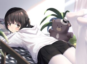 Rating: Safe Score: 23 Tags: bed black_hair brown_eyes hoodie original pantyhose ponytail skirt teddy_bear too-ye User: BattlequeenYume