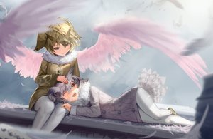 Rating: Safe Score: 34 Tags: 2girls anthropomorphism eurasian_eagle-owl_(kemono_friends) kemono_friends northern_white-faced_owl_(kemono_friends) wings yuho_(goodtest) User: RyuZU