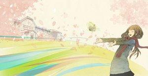Rating: Safe Score: 84 Tags: brown_hair butterfly cherry_blossoms flowers long_hair original petals redjuice sayoko sayonara_memories scarf spring User: Spawwvy