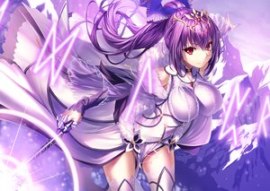 Rating: Safe Score: 119 Tags: armor breasts dress fate/grand_order fate_(series) headdress heirou long_hair magic ponytail purple purple_hair red_eyes scathach_(fate/grand_order) thighhighs wand zettai_ryouiki User: otaku_emmy