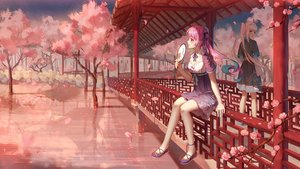 Rating: Safe Score: 94 Tags: 2girls breasts cherry_blossoms chinese_clothes cleavage dress fan flowers hololive ji_dao_ji kagura_mea kagura_mea_channel long_hair minato_aqua orange_eyes petals pink_eyes pink_hair reflection scenic sky stars tree twintails water white_hair User: BattlequeenYume