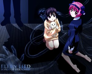 Rating: Safe Score: 8 Tags: animal dark dog elfen_lied mayu nana_(elfen_lied) pink_hair red_eyes short_hair User: Oyashiro-sama