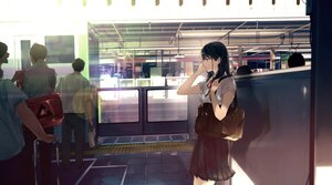 Rating: Safe Score: 52 Tags: black_hair bow headphones long_hair maeda_mic male original school_uniform train User: BattlequeenYume