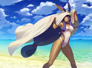 Rating: Safe Score: 44 Tags: animal_ears beach breasts cleavage clouds dark_skin erect_nipples fate/grand_order fate_(series) necklace nitocris_(fate/grand_order) potato_(sksnabi) purple_eyes purple_hair sky swimsuit water User: BattlequeenYume