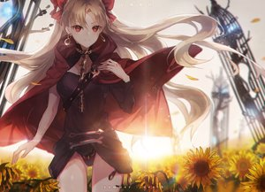 Rating: Safe Score: 40 Tags: blonde_hair cape ereshkigal fate/grand_order fate_(series) flowers long_hair red_eyes sunflower uwro User: RyuZU