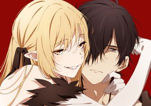Rating: Safe Score: 73 Tags: araragi_koyomi blonde_hair brown_eyes brown_hair close elbow_gloves gloves hug kissshot_acerolaorion_heartunderblade kizumonogatari long_hair male monogatari_(series) ntend orange_eyes oshino_shinobu pointed_ears red ribbons User: otaku_emmy