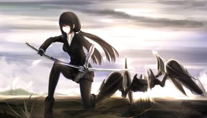 Rating: Safe Score: 196 Tags: black_hair kikivi long_hair original pantyhose robot skirt sword weapon User: opai