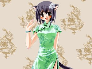 Rating: Safe Score: 12 Tags: animal_ears blush catgirl chinese_clothes chinese_dress dress tagme tail User: Oyashiro-sama