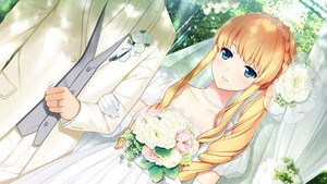 Rating: Safe Score: 79 Tags: aqua_eyes bethly_rose_daisley blonde_hair blush braids dress elbow_gloves flowers game_cg gin'iro_haruka gloves headband koizumi_amane long_hair male necklace tie wedding wedding_attire User: RyuZU