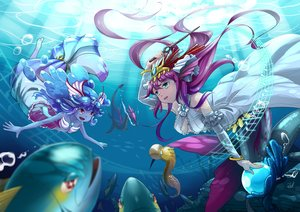 Rating: Safe Score: 34 Tags: animal fish headdress long_hair neko_eel plesios_(p&d) purple_hair puzzle_&_dragons siren_(p&d) underwater undine_(p&d) water User: FormX