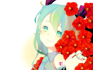 Rating: Safe Score: 14 Tags: close flowers hatsune_miku twintails vocaloid white User: HawthorneKitty