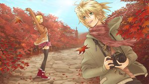 Rating: Safe Score: 48 Tags: autumn camera kagamine_len kagamine_rin scarf shirano vocaloid zettai_ryouiki User: FormX