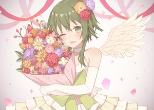 Rating: Safe Score: 91 Tags: brown_eyes choker dress elbow_gloves flowers gloves green_hair gumi nagitoki vocaloid wings wink User: Flandre93