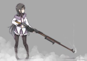 Rating: Safe Score: 102 Tags: akemi_homura black_eyes black_hair gray gun headband long_hair mahou_shoujo_madoka_magica pantyhose seifuku signed umiroku weapon User: otaku_emmy