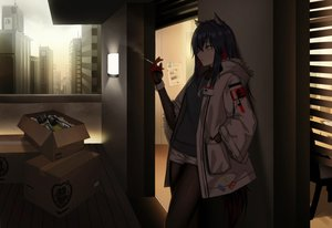 Rating: Safe Score: 56 Tags: animal_ears arknights black_hair brown_eyes building cero_(last2stage) cigarette city dark hoodie long_hair necklace pantyhose paper shorts smoking texas_(arknights) User: RyuZU