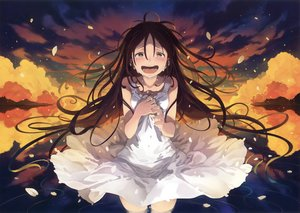 Rating: Safe Score: 57 Tags: brown_eyes brown_hair clouds crying dress long_hair morino_hon petals reflection scan sky stars summer_dress tears water User: RyuZU