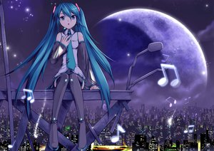 Rating: Safe Score: 106 Tags: blue_eyes blue_hair building city crazypen hatsune_miku jpeg_artifacts long_hair moon music night stars thighhighs twintails vocaloid User: FormX