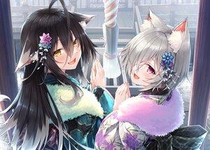 Rating: Safe Score: 85 Tags: animal_ears black_hair catgirl fang gray_hair hasumi_(hasubatake39) japanese_clothes kimono long_hair original purple_eyes shrine yellow_eyes User: BattlequeenYume