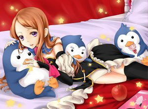 Rating: Safe Score: 44 Tags: animal apple bed brown_hair candy food fruit lollipop long_hair mawaru_penguindrum penguin purple_eyes stars takakura_himari thighhighs User: opai