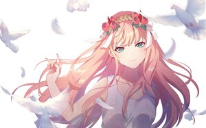 Rating: Safe Score: 29 Tags: animal bird blush carminar darling_in_the_franxx feathers flowers green_eyes headdress horns long_hair pink_hair ribbons zero_two User: Maboroshi