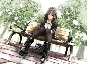 Rating: Safe Score: 91 Tags: blue_eyes boots brown_hair fuu_(fuore) necklace original pantyhose park tree User: BattlequeenYume
