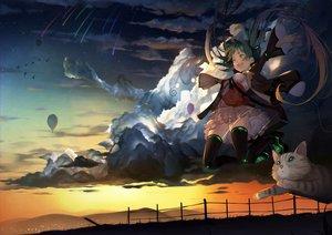 Rating: Safe Score: 36 Tags: airship animal bird cat clouds hatsune_miku scenic skirt sky stars sunset tagme_(artist) thighhighs twintails vocaloid zettai_ryouiki User: RyuZU