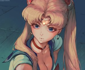 Rating: Safe Score: 51 Tags: blonde_hair blue_eyes breasts choker cleavage close cutesexyrobutts headband long_hair parody sailor_moon sailor_moon_(character) school_uniform signed sketch tsukino_usagi twintails User: otaku_emmy