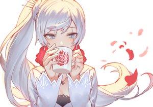 Rating: Safe Score: 103 Tags: aqua_eyes drink izumi_sai long_hair petals ponytail rwby scar weiss_schnee white_hair User: RyuZU