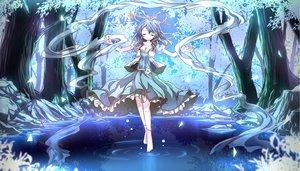 Rating: Safe Score: 116 Tags: barefoot black_hair blue breasts cleavage dress forest kaku_seiga night risutaru touhou tree water User: gnarf1975