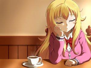 Rating: Safe Score: 69 Tags: blonde_hair blush bow drink gabriel_dropout gabriel_white_tenma kannazuki_kenji long_hair User: RyuZU