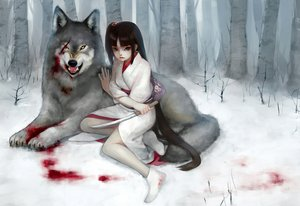 Rating: Safe Score: 110 Tags: animal blood blue_eyes brown_hair chm japanese_clothes kimono knife long_hair original snow wolf User: SonicBlue