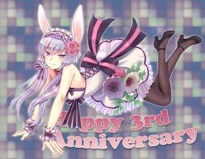 Rating: Safe Score: 95 Tags: animal_ears bow bunny_ears bunnygirl dress kogaran long_hair pantyhose purple_eyes purple_hair twintails vocaloid wristwear yuzuki_yukari User: Flandre93