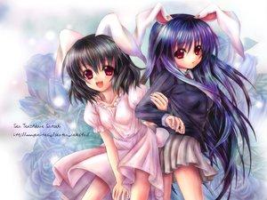 Rating: Safe Score: 25 Tags: animal_ears black_hair bunny_ears bunnygirl dress inaba_tewi red_eyes reisen_udongein_inaba skirt touhou User: Oyashiro-sama