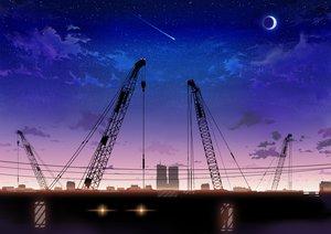 Rating: Safe Score: 142 Tags: industrial inzanaki moon original scenic silhouette sky stars sunset User: opai