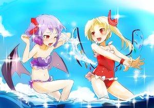 Rating: Safe Score: 25 Tags: 2girls bikini blonde_hair flandre_scarlet ponytail purple_hair red_eyes remilia_scarlet sinzan sketch swimsuit touhou vampire water wings User: sadodere-chan