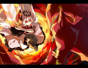 Rating: Safe Score: 55 Tags: bandage crown dress p0ckylo pixiv_fantasia red_eyes sword thighhighs weapon white_hair User: MissBMoon