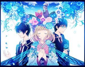 Rating: Safe Score: 81 Tags: ao_no_exorcist black_hair blonde_hair blue_eyes butterfly clouds flowers glasses green_eyes japanese_clothes moriyama_shiemi okumura_rin okumura_yukio pointed_ears rose school_uniform short_hair sky tie wings yuuno_(yukioka) User: STORM