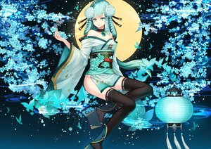 Rating: Safe Score: 45 Tags: aoandon breasts butterfly cleavage flowers green_eyes green_hair long_hair onmyouji petals tagme_(artist) thighhighs User: RyuZU