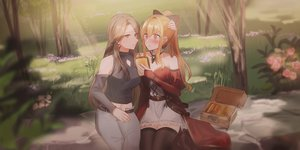 Rating: Safe Score: 36 Tags: 2girls blonde_hair blush brown_eyes brown_hair chihuri405 dress flowers food granblue_fantasy grass katalina_aryze long_hair navel ponytail red_eyes shoujo_ai thighhighs tree vira_lilie User: sadodere-chan