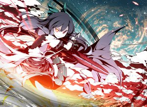 Rating: Safe Score: 65 Tags: asakura_masatoki black_hair cape long_hair red_eyes reiuji_utsuho ribbons skirt stars touhou weapon yellow_eyes User: Tensa