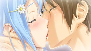 Rating: Safe Score: 221 Tags: bishoujo_mangekyou blue_hair blush brown_hair close game_cg happoubi_jin kanzaki_akihito kiss male omega_star sawatari_shizuku User: Maboroshi