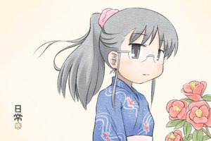Rating: Safe Score: 25 Tags: black_eyes black_hair blush flowers glasses japanese_clothes kimono minakami_mai nichijou ponytail tomboo yukata User: PAIIS