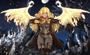 Rating: Safe Score: 46 Tags: anonamos blonde_hair crossover rwby watermark wings yang_xiao_long User: Flandre93