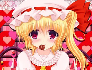 Rating: Safe Score: 61 Tags: blonde_hair blush flandre_scarlet red_eyes shimotsuki_keisuke short_hair touhou valentine wings User: SciFi