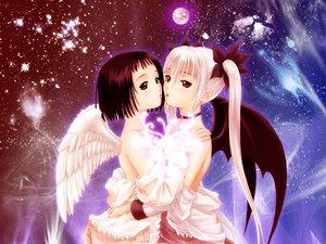 Rating: Questionable Score: 46 Tags: 2girls angel choker demon nude taka_tony wings yuri User: Oyashiro-sama