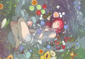 Rating: Safe Score: 68 Tags: all_male apple barefoot flowers food fruit green_eyes leaves long_hair male orange_(fruit) original petals red_hair see_through tagme_(artist) water wet User: otaku_emmy