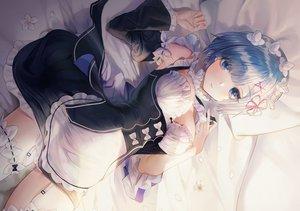 Rating: Safe Score: 161 Tags: apron bed blue_eyes blue_hair blush breasts cleavage flowers garter_belt headdress maid minncn petals rem_(re:zero) re:zero_kara_hajimeru_isekai_seikatsu short_hair stockings User: otaku_emmy
